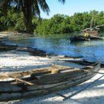 Plage de Madagascar avec des bateaux