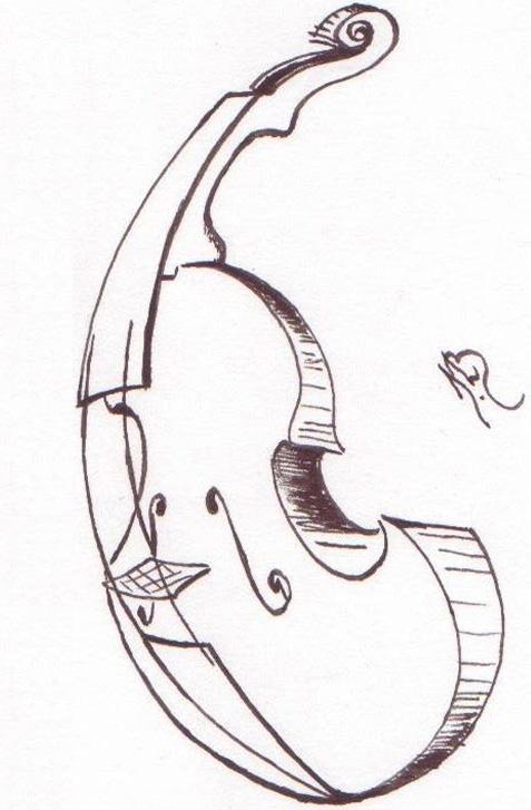 Croquis d'un violon par Jean-Louis Blivet, luthier