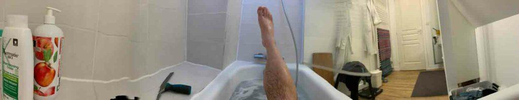 Un bain après une journée de marche